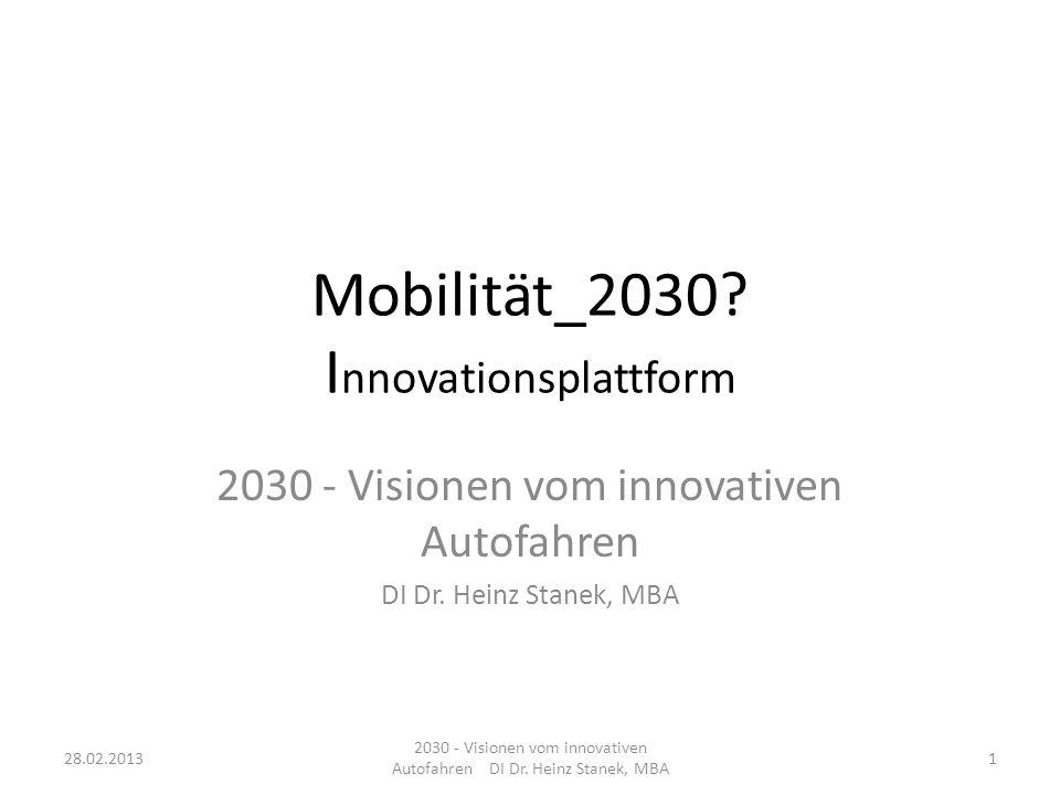 Mobilität_2030.I nnovationsplattform 2030 - Visionen vom innovativen Autofahren DI Dr.
