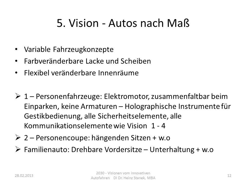 5. Vision - Autos nach Maß Variable Fahrzeugkonzepte Farbveränderbare Lacke und Scheiben Flexibel veränderbare Innenräume 1 – Personenfahrzeuge: Elekt