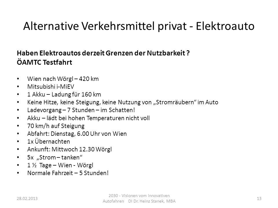Alternative Verkehrsmittel privat - Elektroauto Haben Elektroautos derzeit Grenzen der Nutzbarkeit ? ÖAMTC Testfahrt Wien nach Wörgl – 420 km Mitsubis