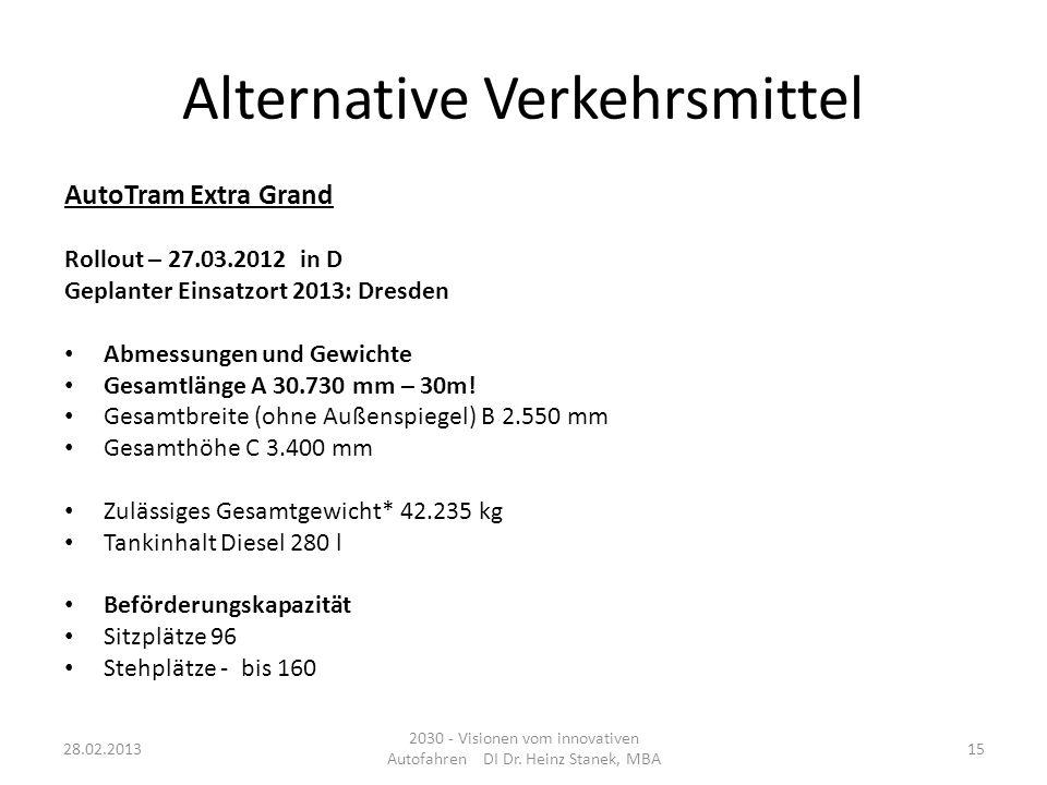 Alternative Verkehrsmittel AutoTram Extra Grand Rollout – 27.03.2012 in D Geplanter Einsatzort 2013: Dresden Abmessungen und Gewichte Gesamtlänge A 30