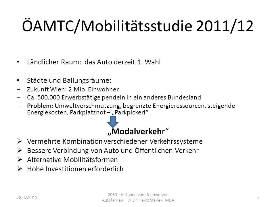 ÖAMTC/Mobilitätsstudie 2011/12 Ländlicher Raum: das Auto derzeit 1. Wahl Städte und Ballungsräume: Zukunft Wien: 2 Mio. Einwohner Ca. 500.000 Erwerbst