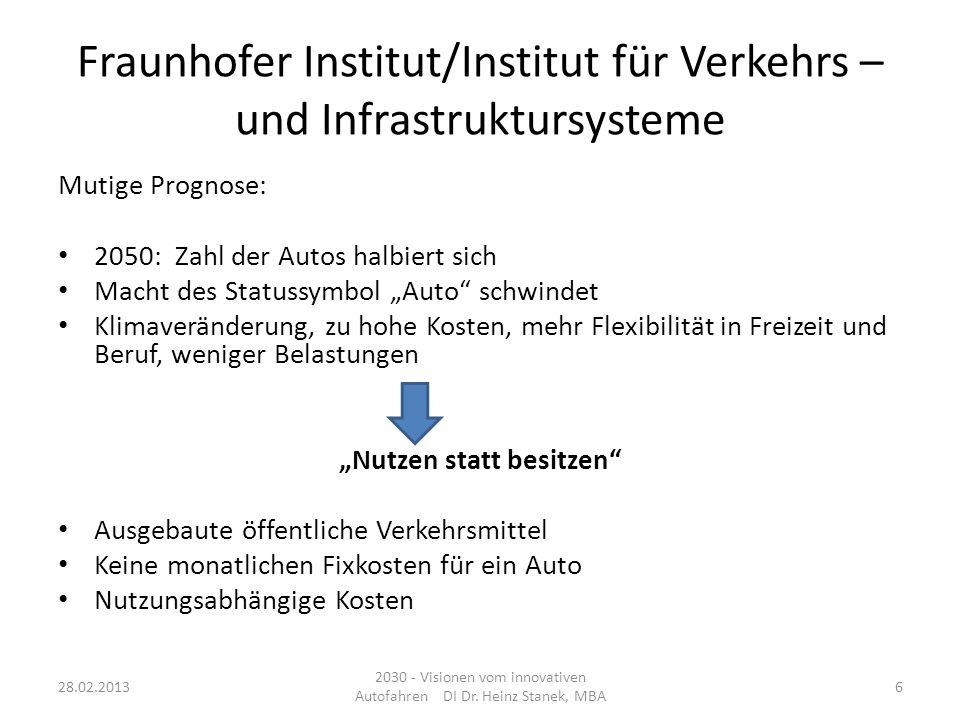 Vision Auto 2030 5 Themenbereiche in F&E der Automobilindustrie - Beispiel VW Konzern : Standardmäßig - nicht nur ansatzweise im hochpreisigen Segment: Emissionsfreie Autos Auto als Lebensraum Vernetzte Mobilität Unfallfreies Fahren Auto nach Maß 28.02.2013 2030 - Visionen vom innovativen Autofahren DI Dr.
