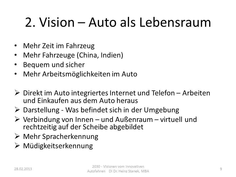 2. Vision – Auto als Lebensraum Mehr Zeit im Fahrzeug Mehr Fahrzeuge (China, Indien) Bequem und sicher Mehr Arbeitsmöglichkeiten im Auto Direkt im Aut