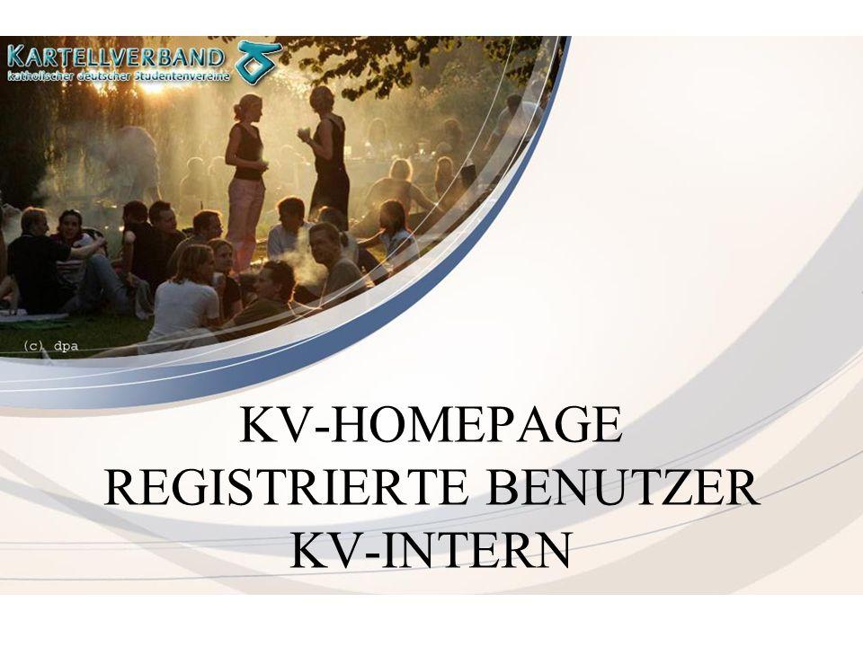 KV-HOMEPAGE REGISTRIERTE BENUTZER KV-INTERN