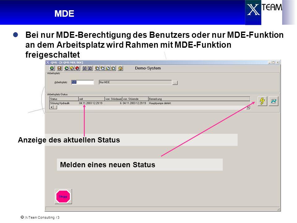 X-Team Consulting / 3 MDE Bei nur MDE-Berechtigung des Benutzers oder nur MDE-Funktion an dem Arbeitsplatz wird Rahmen mit MDE-Funktion freigeschaltet Anzeige des aktuellen Status Melden eines neuen Status