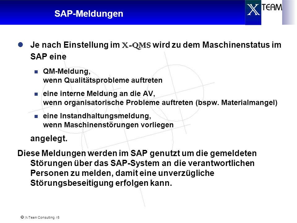 X-Team Consulting / 6 SAP-Meldungen Je nach Einstellung im X-QMS wird zu dem Maschinenstatus im SAP eine QM-Meldung, wenn Qualitätsprobleme auftreten eine interne Meldung an die AV, wenn organisatorische Probleme auftreten (bspw.