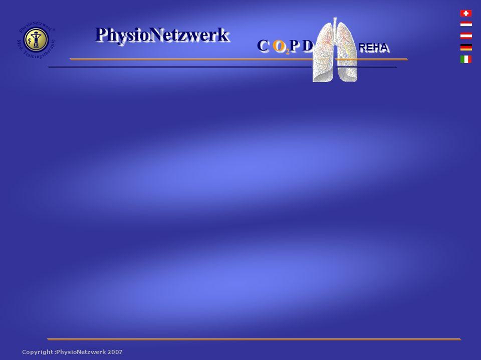 ® PhysioNetzwerk 2 Copyright :PhysioNetzwerk 2007 C O P D REHA Das Programm setzt sich aus folgenden Aspekten Das Programm