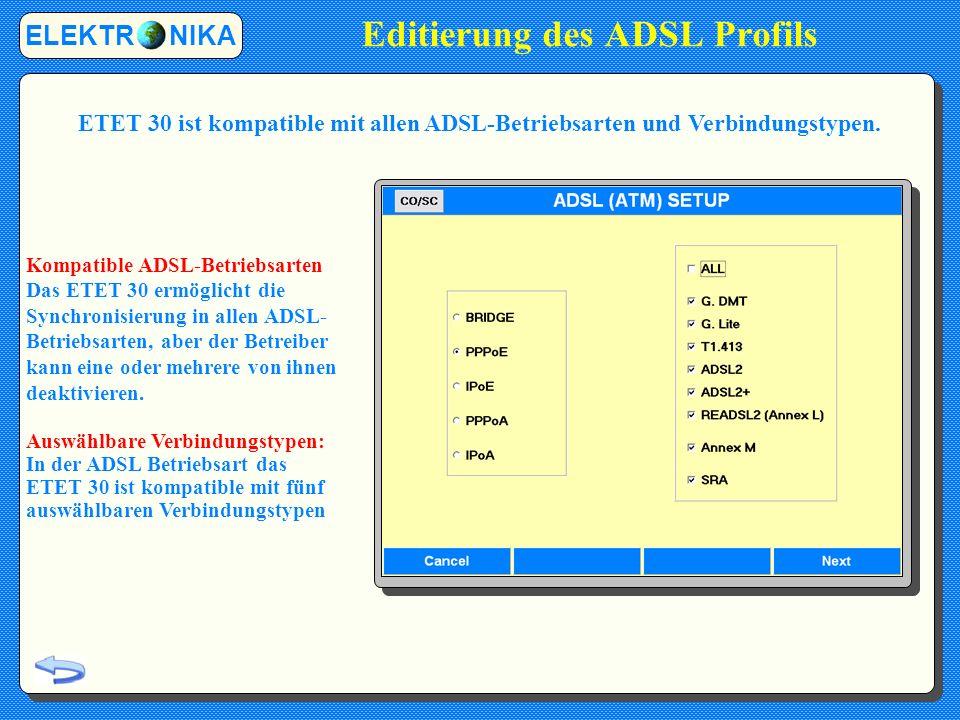 Editierung des ADSL Profils ELEKTR NIKA Kompatible ADSL-Betriebsarten Das ETET 30 ermöglicht die Synchronisierung in allen ADSL- Betriebsarten, aber der Betreiber kann eine oder mehrere von ihnen deaktivieren.
