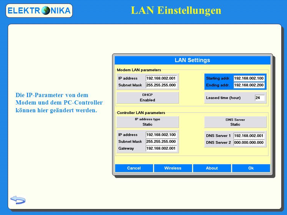 ELEKTR NIKA Die IP-Parameter von dem Modem und dem PC-Controller können hier geändert werden.