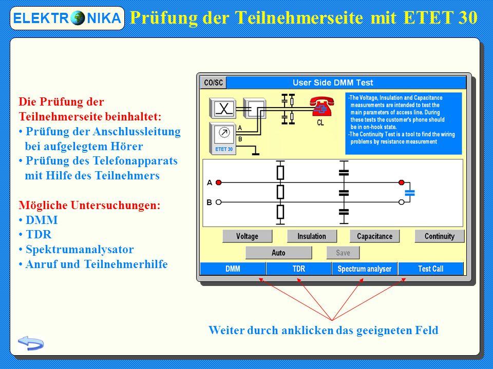 Das ETET 30 bietet zwei Betriebsarten an: Synchronisierungsprüfung Diese Prüfung gibt Informationen über den Trainingsprozess und den tatsächlichen Zustand der Leitung.
