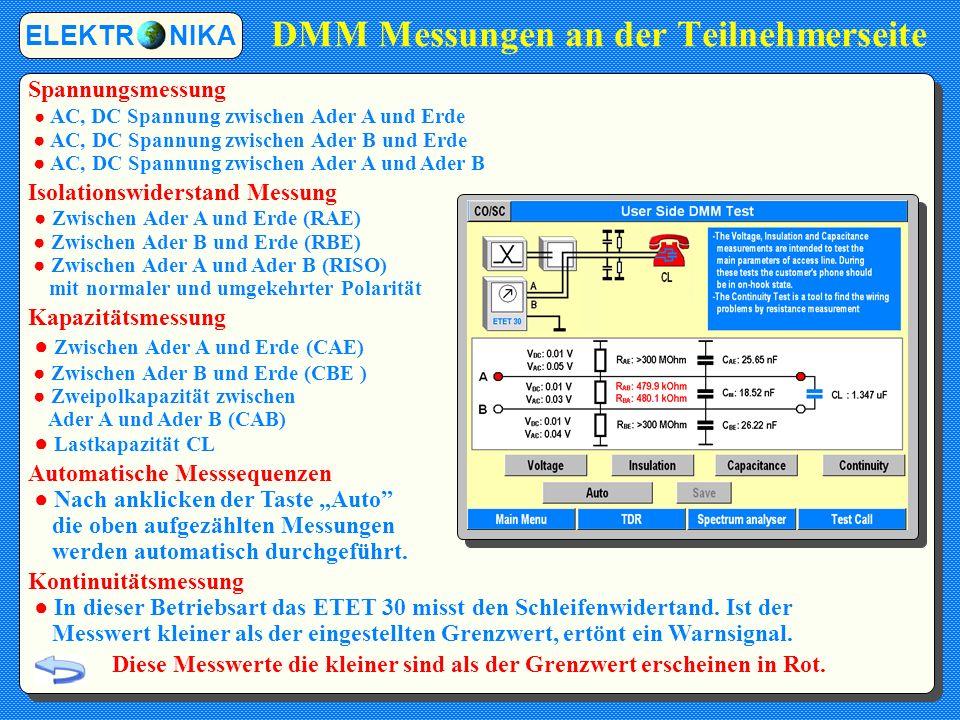 ADSL Synchronisierungsprüfung Die Statusanzeige zeigt den aktuellen Stand der Synchronisation: ROT Die Leitung ist im Idle-Zustand (Keine Synchronität) GRÜN (blinkend) Das Training läuft GRÜN (kontinuierlich) Die Synchronisierung ist abgeschlossen Nach Ende des Trainingsprozesses das ETET 30 gibt eine detaillierte Leitungsdiagnose.