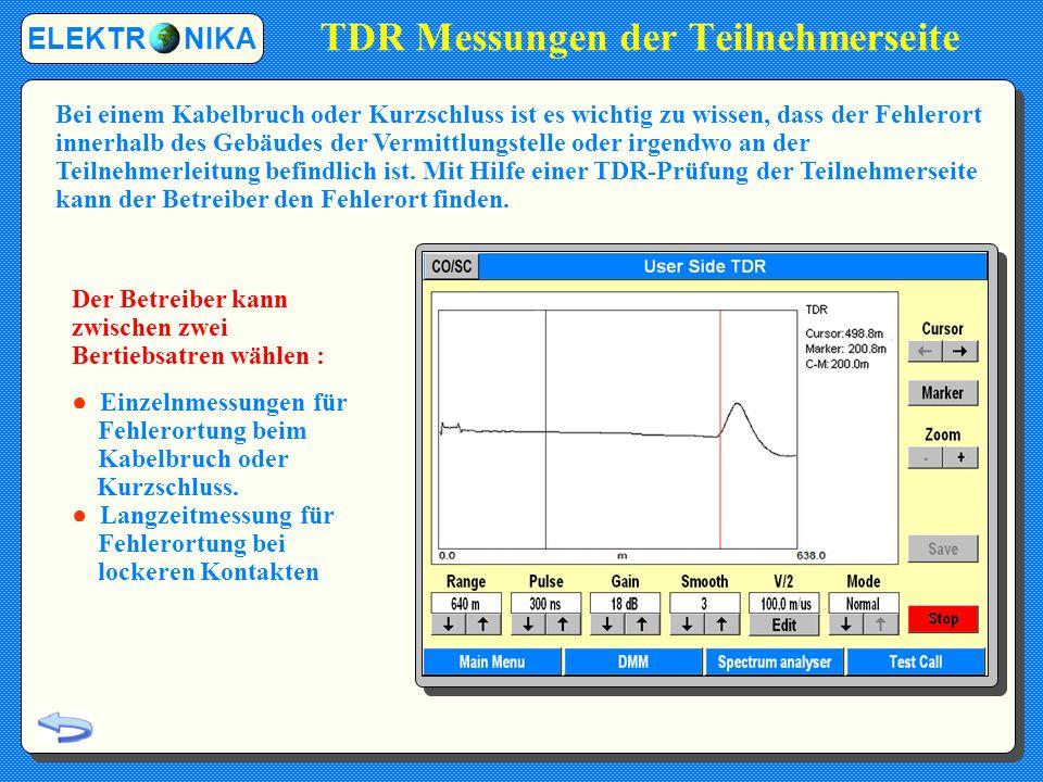 TDR Messungen der Teilnehmerseite ELEKTR NIKA Bei einem Kabelbruch oder Kurzschluss ist es wichtig zu wissen, dass der Fehlerort innerhalb des Gebäudes der Vermittlungstelle oder irgendwo an der Teilnehmerleitung befindlich ist.