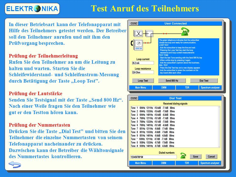 Test Anruf des Teilnehmers ELEKTR NIKA In dieser Betriebsart kann der Telefonapparat mit Hilfe des Teilnehmers getestet werden.