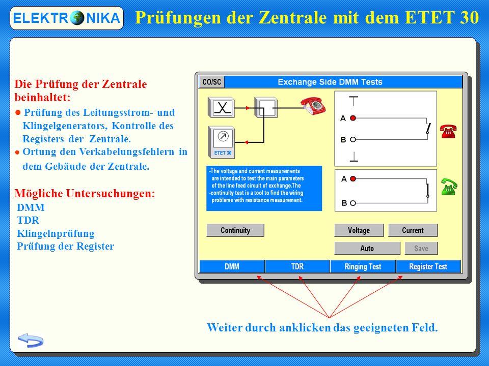 Ping-Test ELEKTR NIKA Der Ping-Tests kann verwalten: Das URL Format Das IP Adress-Format Die Anzahl der PING-Anfragen und die Größe der PING- Pakete können festgelegt werden.