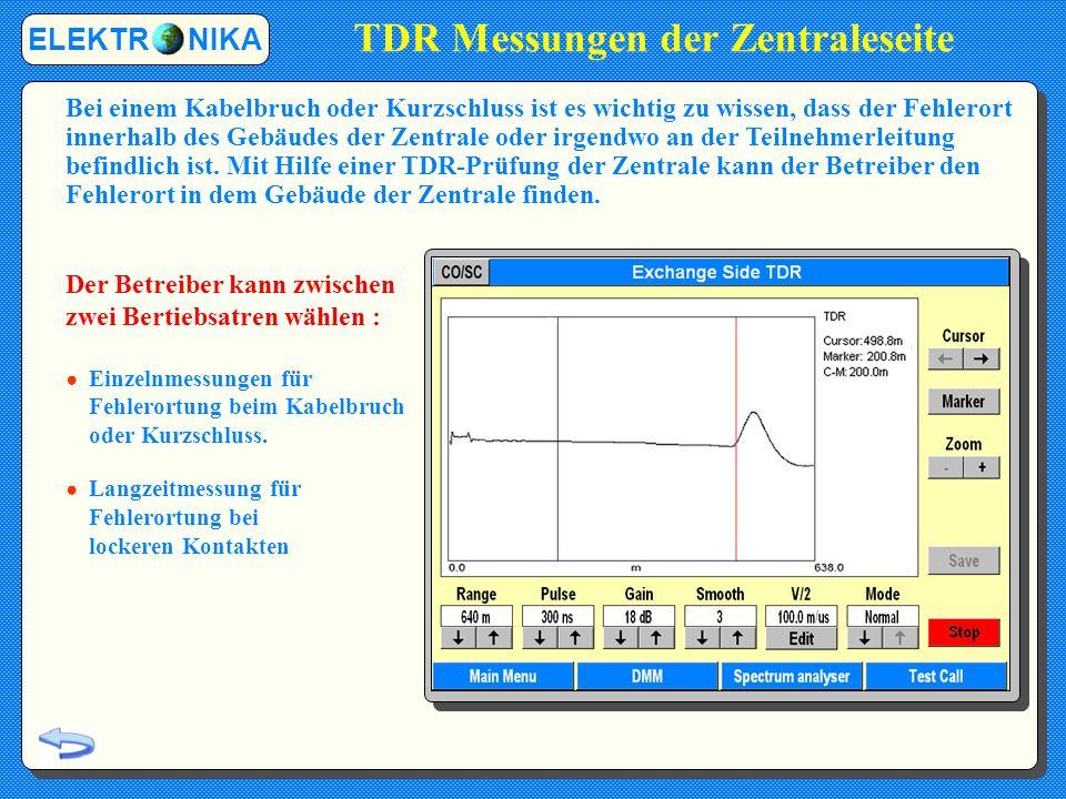 TDR Messungen der Zentraleseite ELEKTR NIKA Bei einem Kabelbruch oder Kurzschluss ist es wichtig zu wissen, dass der Fehlerort innerhalb des Gebäudes der Zentrale oder irgendwo an der Teilnehmerleitung befindlich ist.