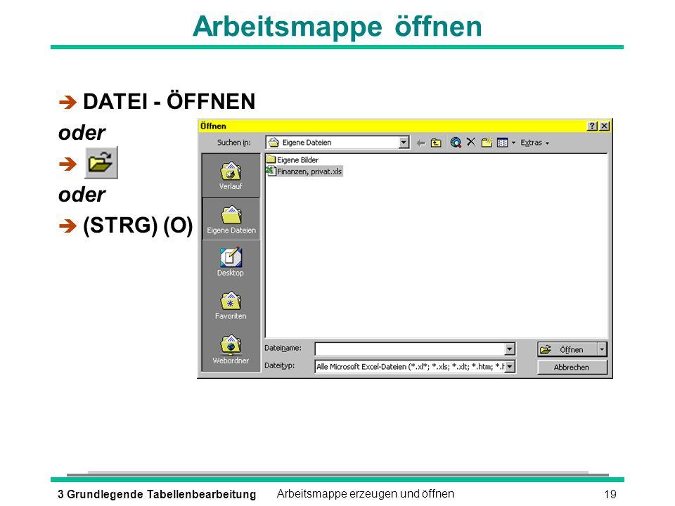 193 Grundlegende TabellenbearbeitungArbeitsmappe erzeugen und öffnen Arbeitsmappe öffnen è DATEI - ÖFFNEN oder è oder (STRG) (O)