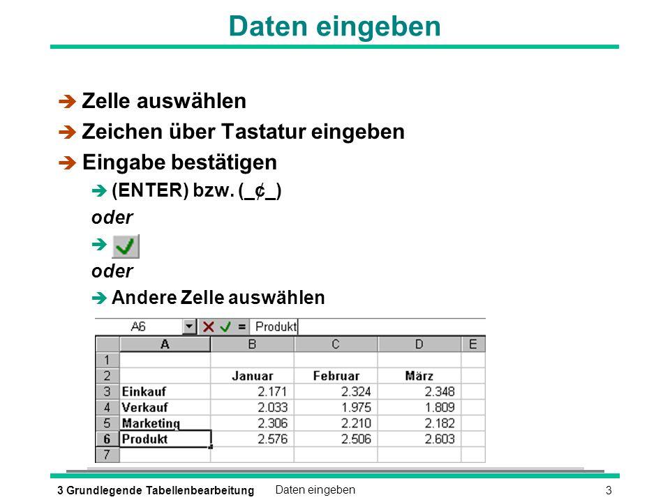 43 Grundlegende TabellenbearbeitungDaten eingeben Korrekturen während der Eingabe (æKORREKTUR) oder (ESC) oder è