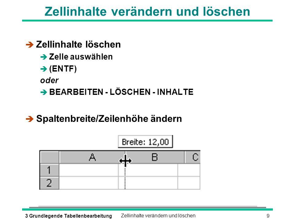 93 Grundlegende TabellenbearbeitungZellinhalte verändern und löschen è Zellinhalte löschen è Zelle auswählen (ENTF) oder è BEARBEITEN - LÖSCHEN - INHALTE è Spaltenbreite/Zeilenhöhe ändern