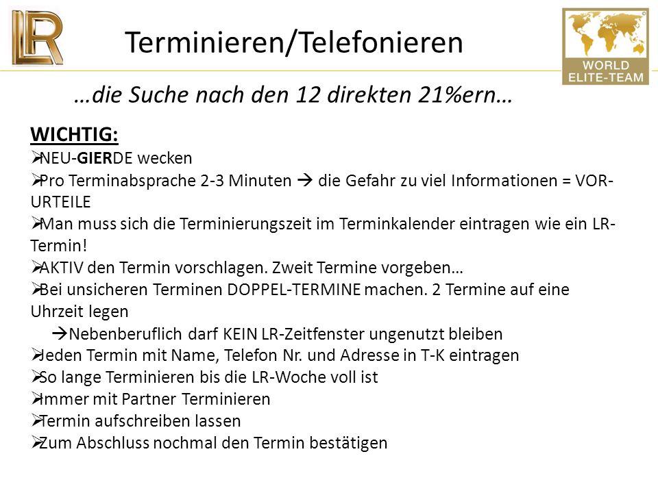 Terminieren/Telefonieren …die Suche nach den 12 direkten 21%ern…