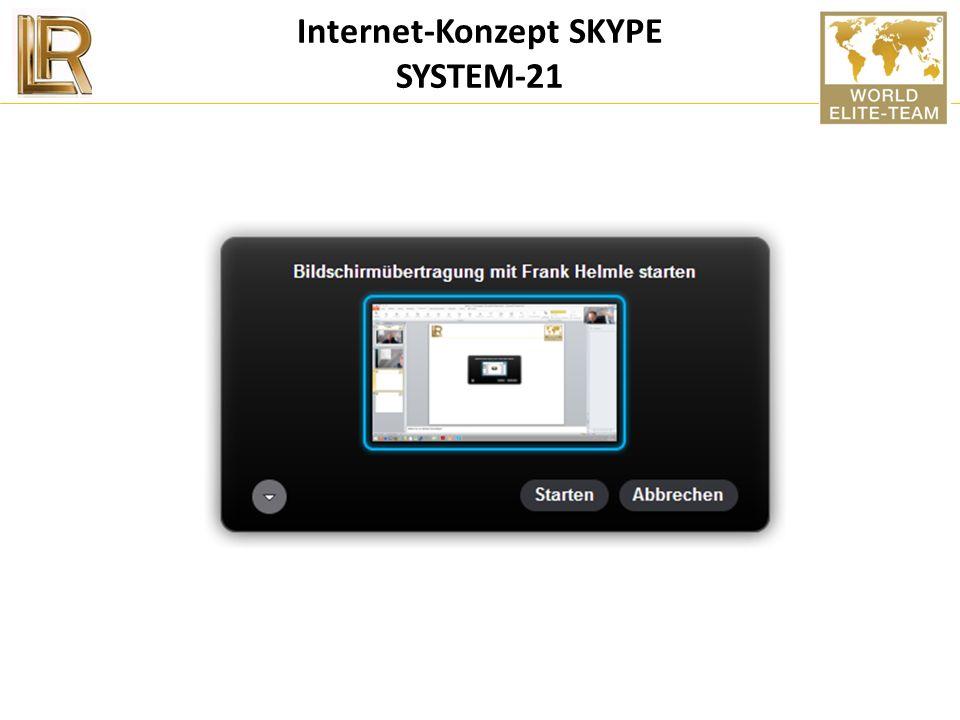 Internet-Konzept SYSTEM-21 1. Homepage von LR buchen = 29/Jahr 2. Homepage SYSTEM-21 wird über die LR-HP gelegt 3. Professioneller Internetauftritt Ih