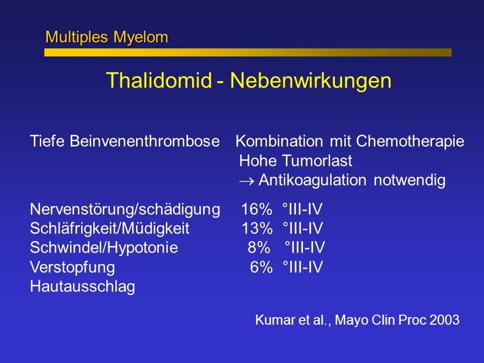 Multiples Myelom Thalidomid - Nebenwirkungen Tiefe Beinvenenthrombose Kombination mit Chemotherapie Hohe Tumorlast Antikoagulation notwendig Nervenstö