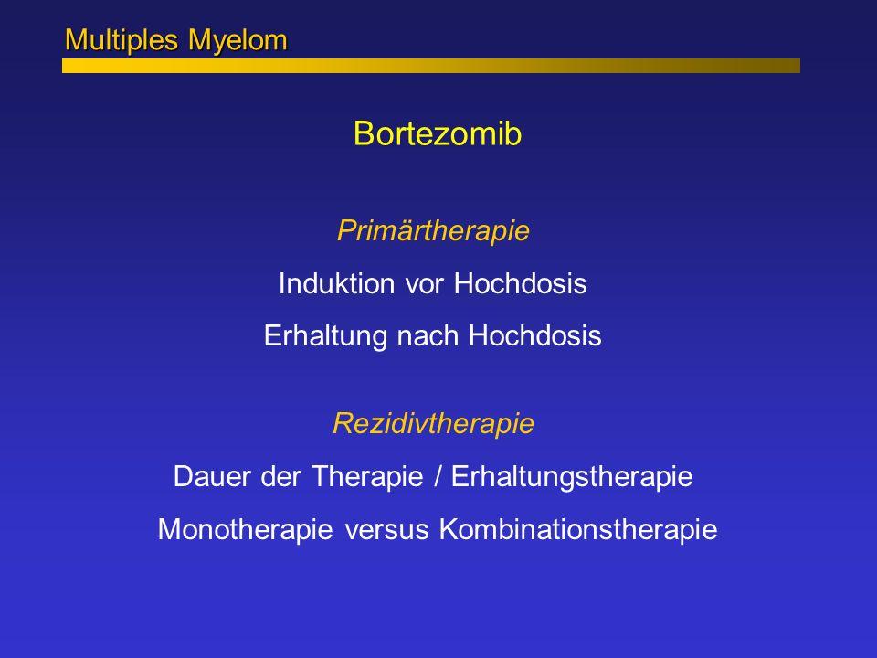 Bortezomib Multiples Myelom Primärtherapie Induktion vor Hochdosis Erhaltung nach Hochdosis Rezidivtherapie Dauer der Therapie / Erhaltungstherapie Mo