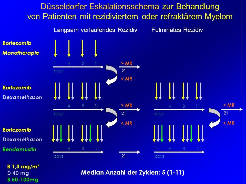 Bortezomib Monotherapie 1 4 8 11 Bortezomib Dexamethason Bortezomib Dexamethason Bendamustin B 1,3 mg/m² D 40 mg B 50-100mg > MR Median Anzahl der Zyk