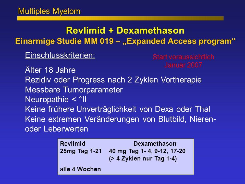 Revlimid + Dexamethason Einarmige Studie MM 019 – Expanded Access program Multiples Myelom Einschlusskriterien: Älter 18 Jahre Rezidiv oder Progress n