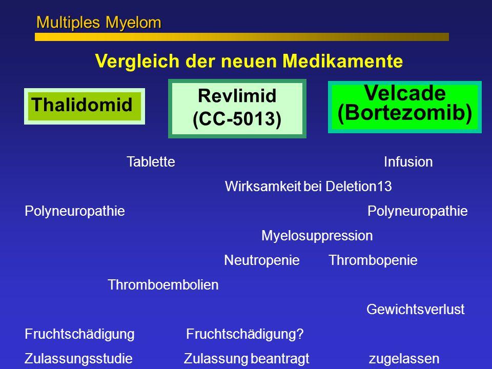 Vergleich der neuen Medikamente Multiples Myelom Tablette Infusion Wirksamkeit bei Deletion13 Polyneuropathie Myelosuppression Neutropenie Thrombopeni