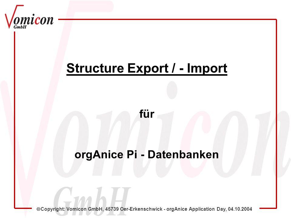 Copyright: Vomicon GmbH, 45739 Oer-Erkenschwick - orgAnice Application Day, 04.10.2004 7.