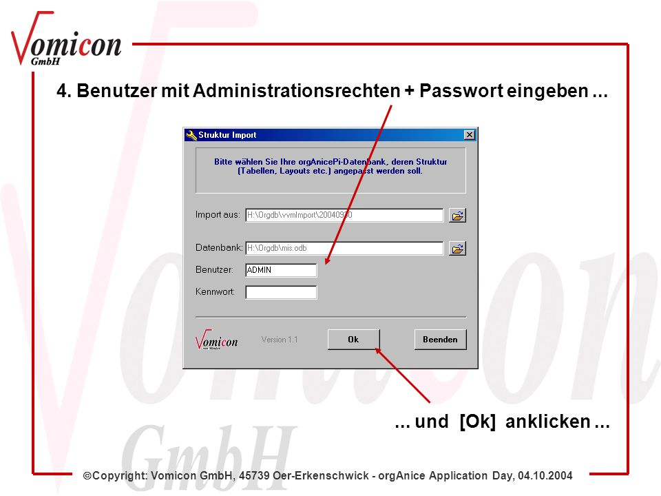 Copyright: Vomicon GmbH, 45739 Oer-Erkenschwick - orgAnice Application Day, 04.10.2004 4.
