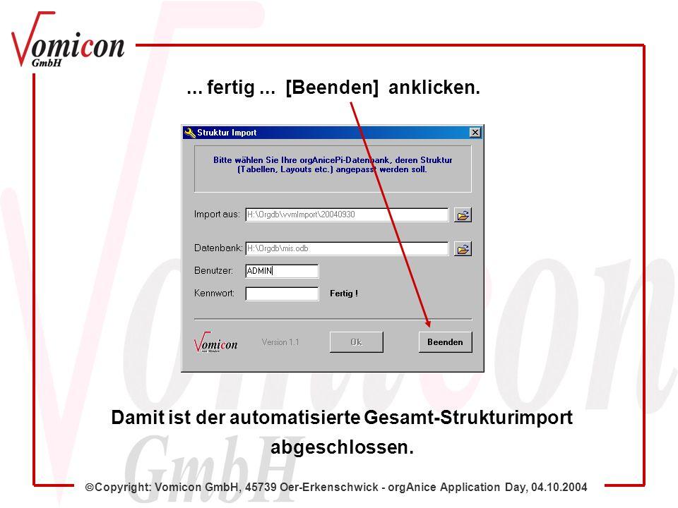 Copyright: Vomicon GmbH, 45739 Oer-Erkenschwick - orgAnice Application Day, 04.10.2004 Damit ist der automatisierte Gesamt-Strukturimport abgeschlosse