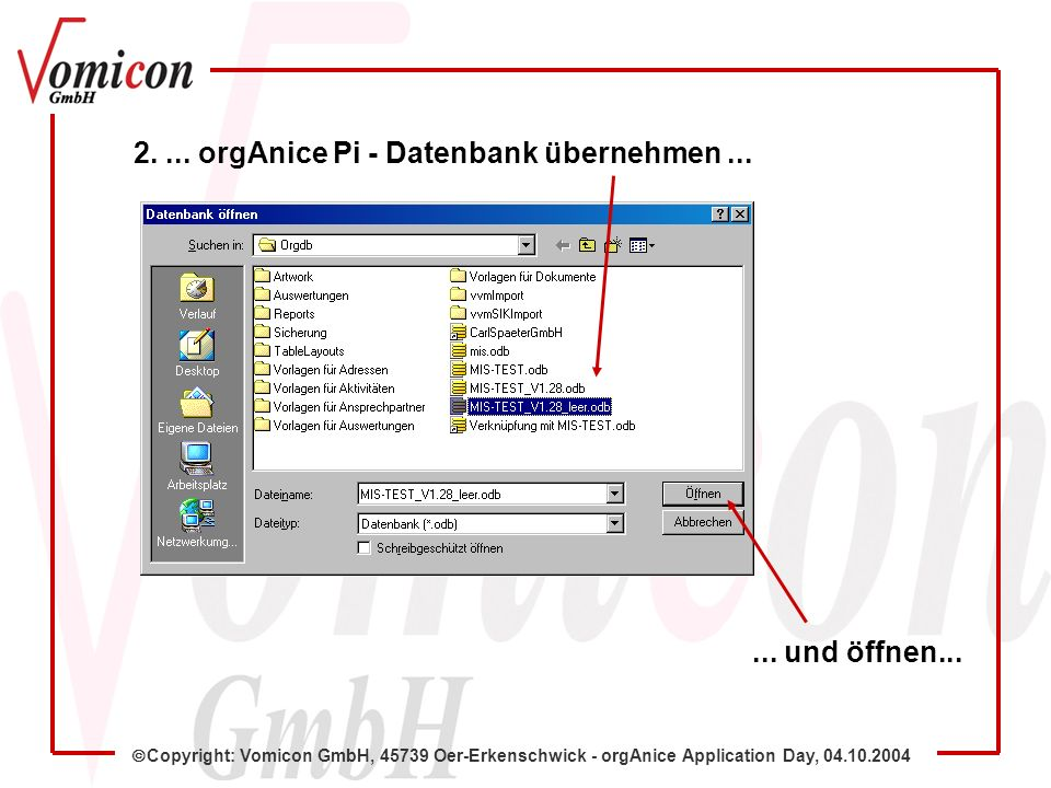 Copyright: Vomicon GmbH, 45739 Oer-Erkenschwick - orgAnice Application Day, 04.10.2004 2....