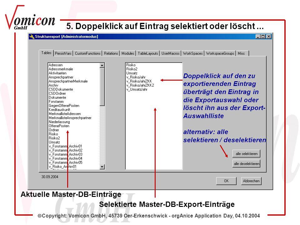 Copyright: Vomicon GmbH, 45739 Oer-Erkenschwick - orgAnice Application Day, 04.10.2004 Aktuelle Master-DB-Einträge 5. Doppelklick auf Eintrag selektie