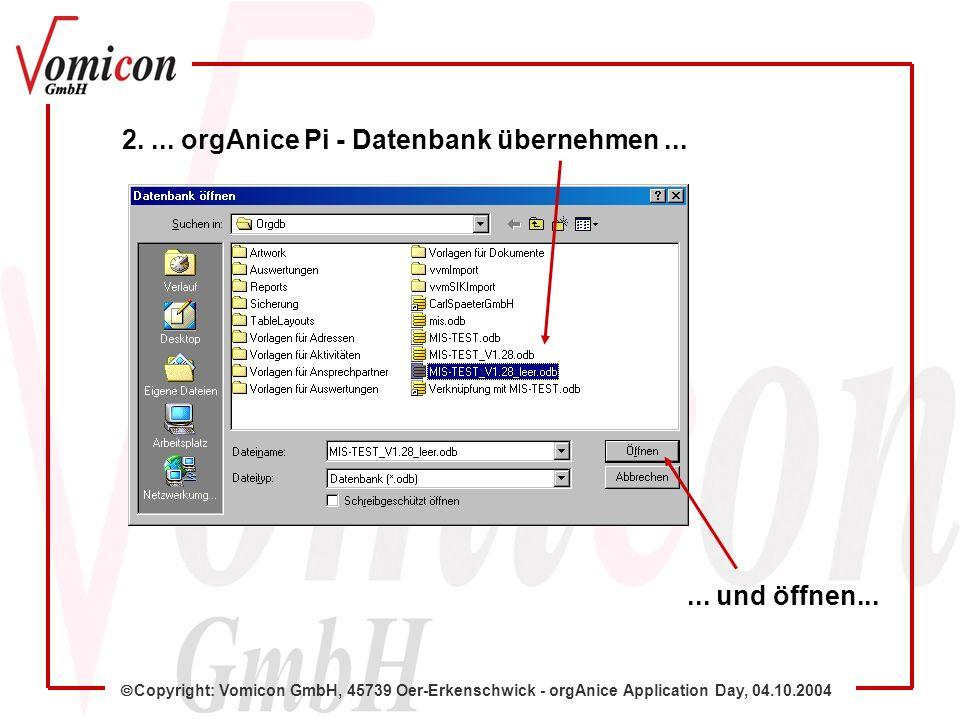 Copyright: Vomicon GmbH, 45739 Oer-Erkenschwick - orgAnice Application Day, 04.10.2004 Damit ist der automatisierte Gesamt-Strukturimport abgeschlossen....