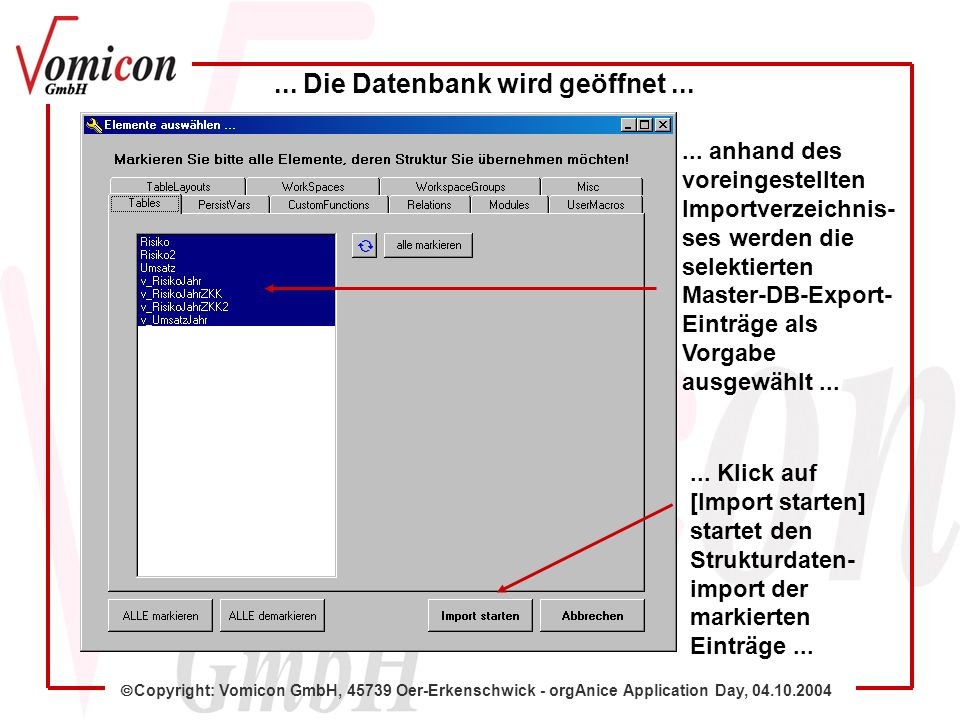 Copyright: Vomicon GmbH, 45739 Oer-Erkenschwick - orgAnice Application Day, 04.10.2004...