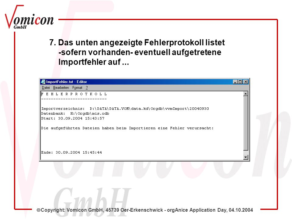 Copyright: Vomicon GmbH, 45739 Oer-Erkenschwick - orgAnice Application Day, 04.10.2004 7.