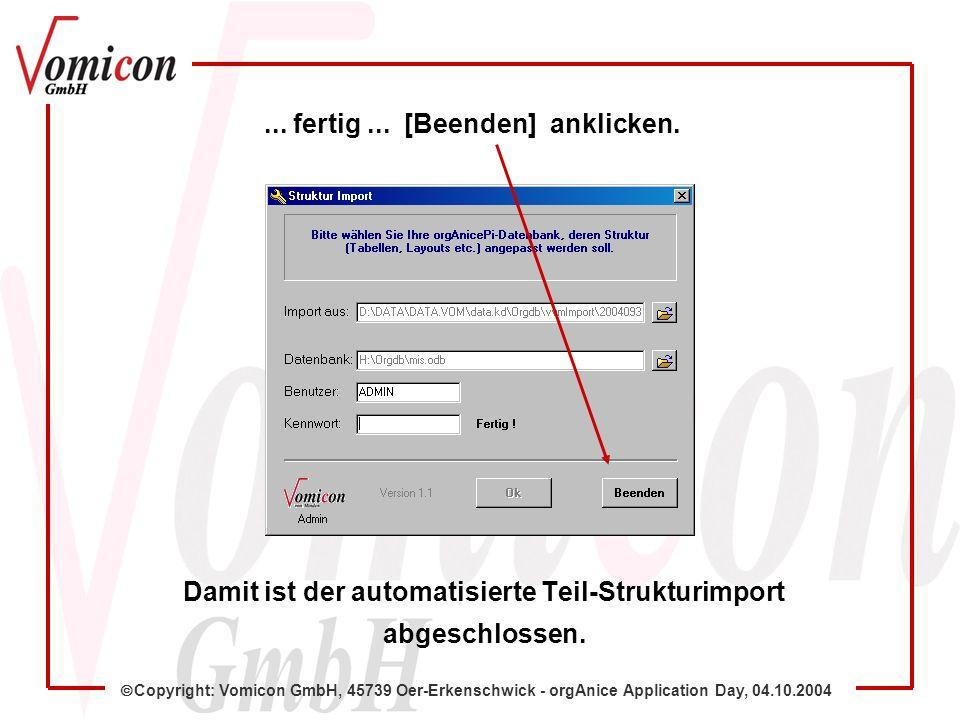 Copyright: Vomicon GmbH, 45739 Oer-Erkenschwick - orgAnice Application Day, 04.10.2004 Damit ist der automatisierte Teil-Strukturimport abgeschlossen.