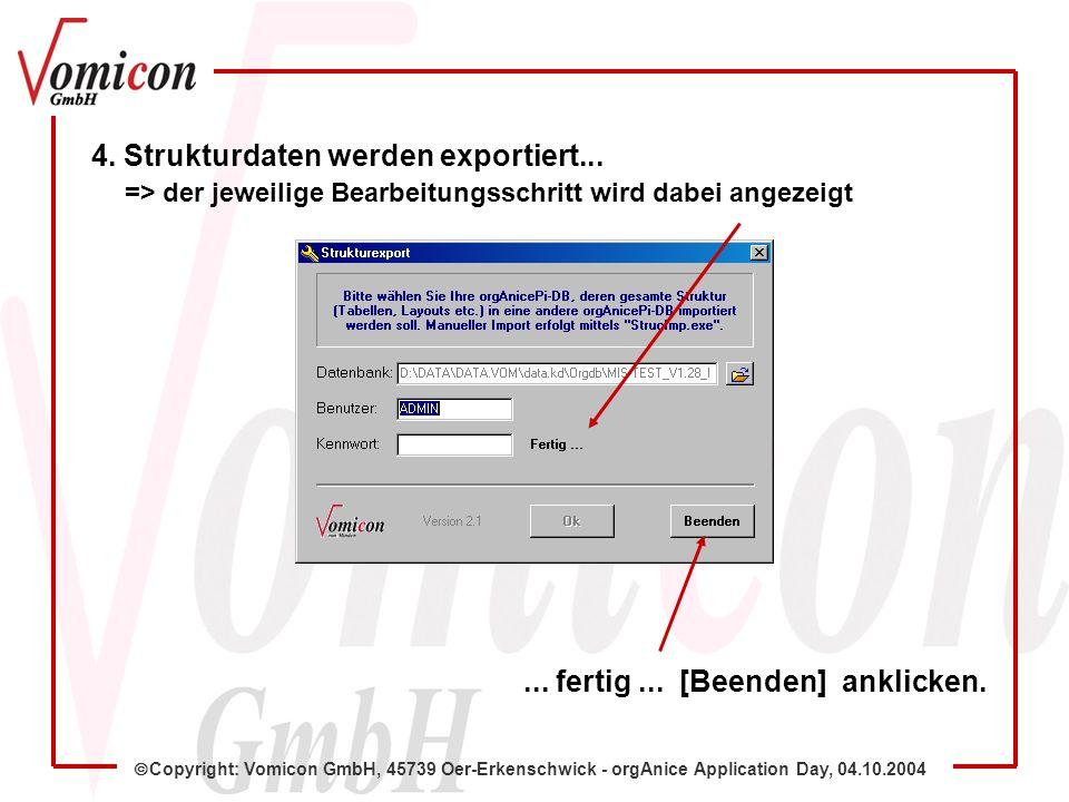 Copyright: Vomicon GmbH, 45739 Oer-Erkenschwick - orgAnice Application Day, 04.10.2004 4.