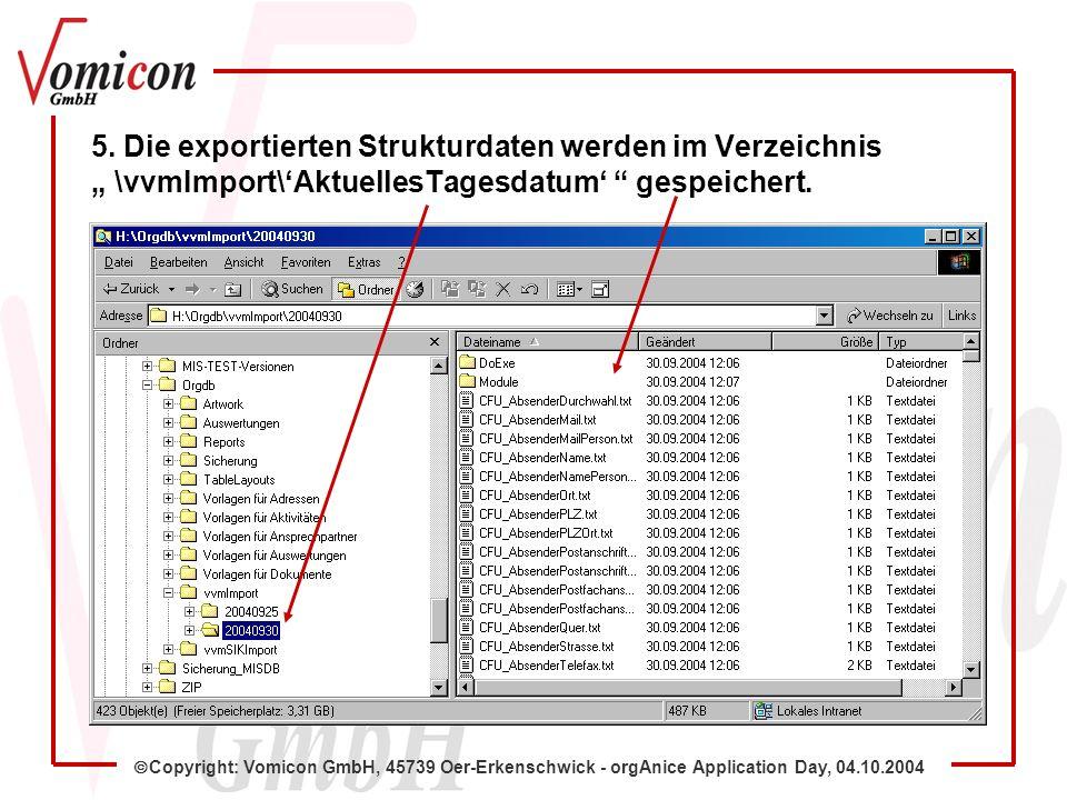 Copyright: Vomicon GmbH, 45739 Oer-Erkenschwick - orgAnice Application Day, 04.10.2004 Damit ist der automatisierte Gesamt-Strukturexport abgeschlossen.