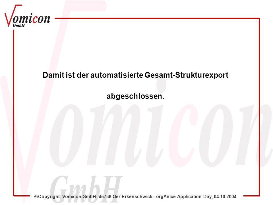 Copyright: Vomicon GmbH, 45739 Oer-Erkenschwick - orgAnice Application Day, 04.10.2004 Damit ist der automatisierte Gesamt-Strukturexport abgeschlosse
