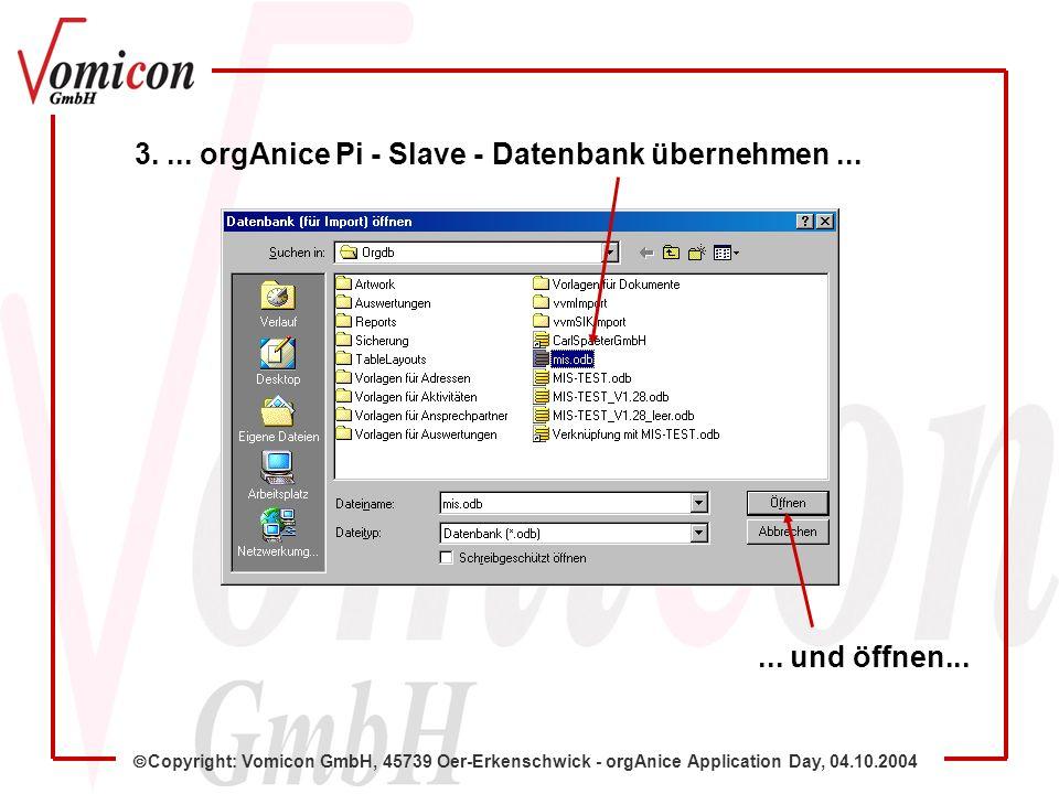 Copyright: Vomicon GmbH, 45739 Oer-Erkenschwick - orgAnice Application Day, 04.10.2004 Aktuelle Master-DB-Einträge 5.