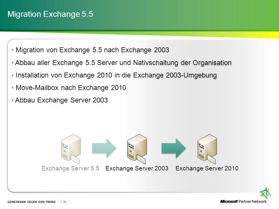 Migration von Exchange 5.5 nach Exchange 2003 Abbau aller Exchange 5.5 Server und Nativschaltung der Organisation Installation von Exchange 2010 in di