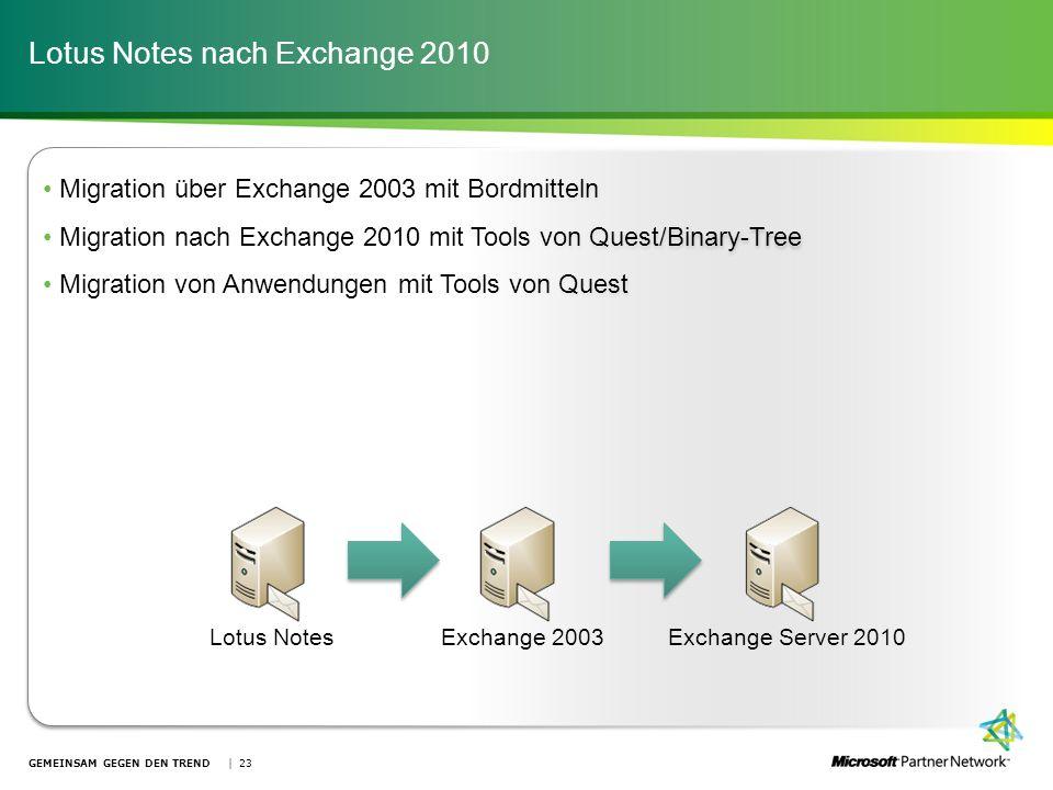 Lotus Notes nach Exchange 2010 GEMEINSAM GEGEN DEN TREND | 23 Migration über Exchange 2003 mit Bordmitteln Migration nach Exchange 2010 mit Tools von