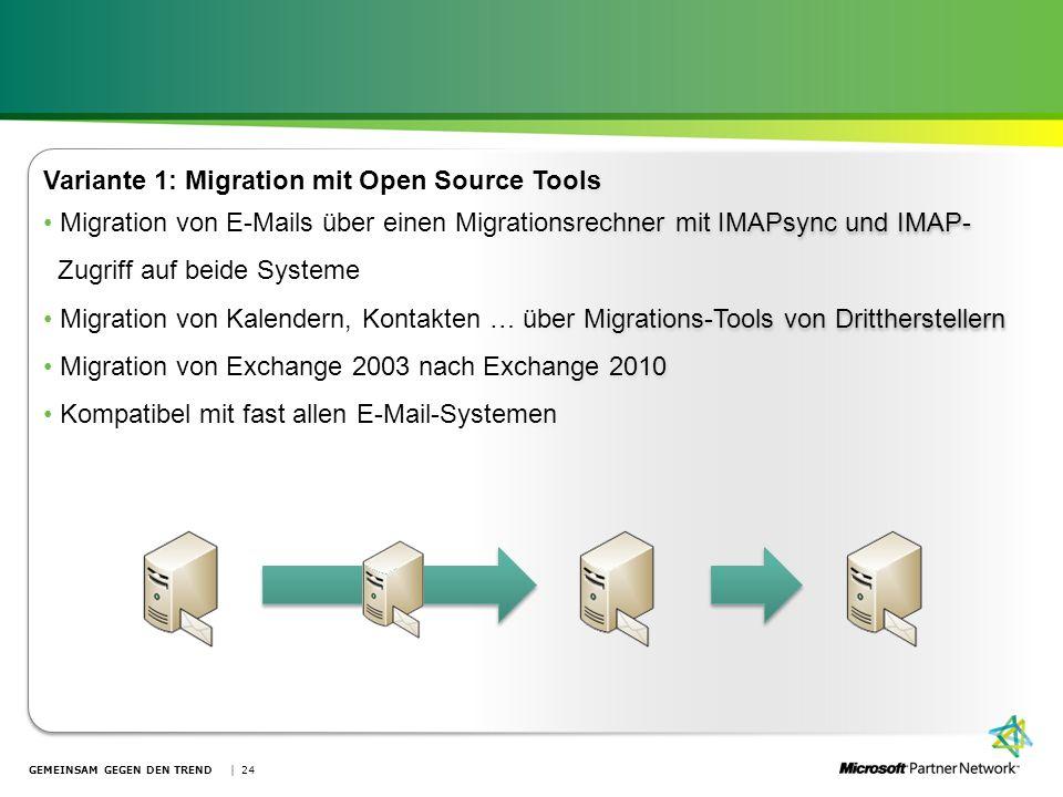 GEMEINSAM GEGEN DEN TREND | 24 Variante 1: Migration mit Open Source Tools Migration von E-Mails über einen Migrationsrechner mit IMAPsync und IMAP- Z