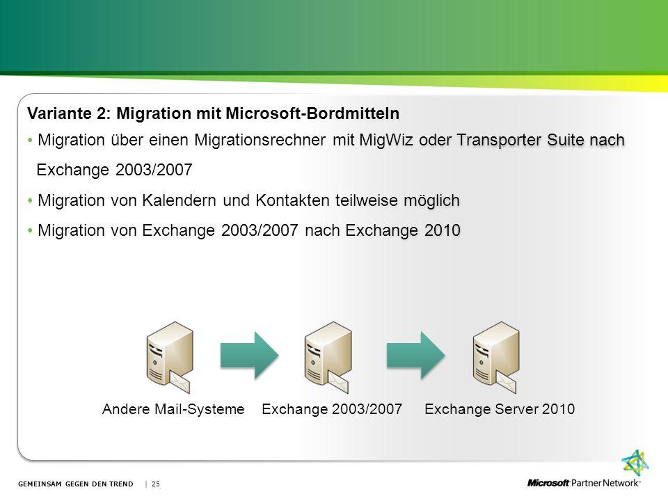 GEMEINSAM GEGEN DEN TREND | 25 Variante 2: Migration mit Microsoft-Bordmitteln Migration über einen Migrationsrechner mit MigWiz oder Transporter Suit