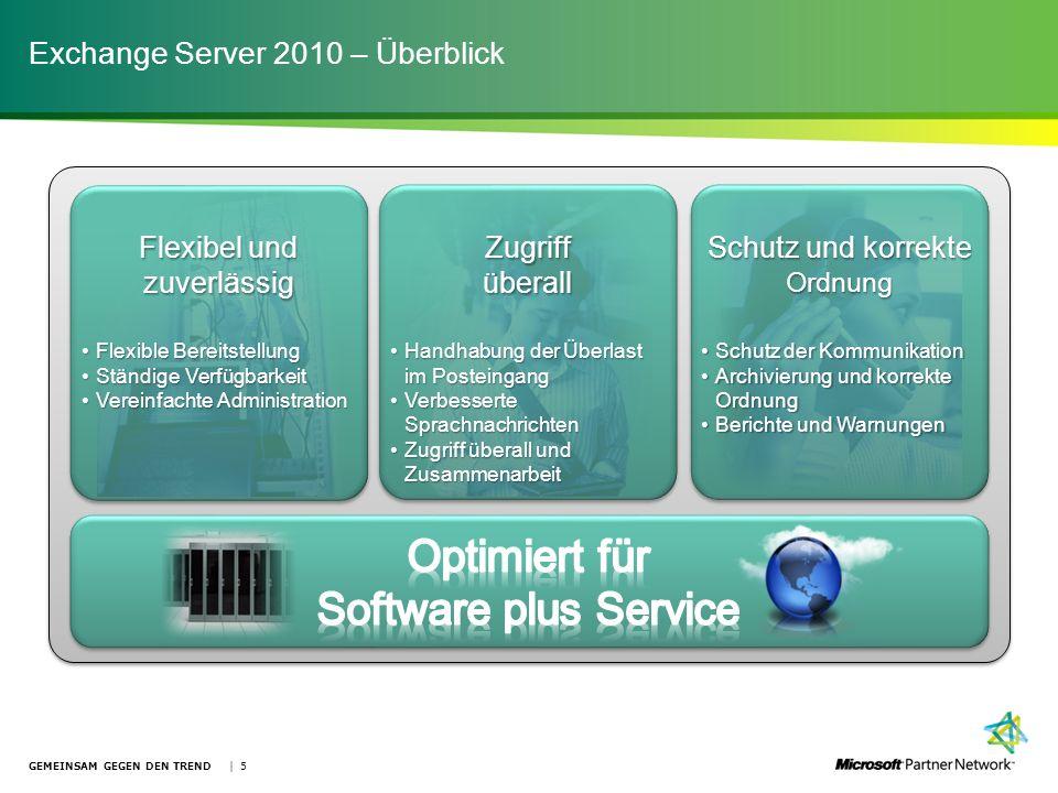 Exchange Server 2010 – Überblick GEMEINSAM GEGEN DEN TREND | 5 Flexible BereitstellungFlexible Bereitstellung Ständige VerfügbarkeitStändige Verfügbar