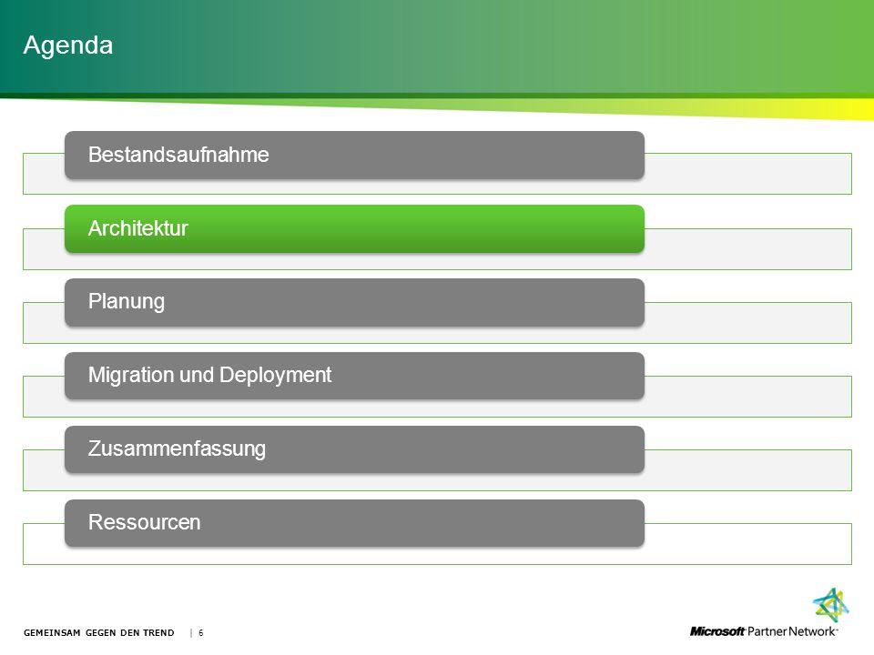 Agenda GEMEINSAM GEGEN DEN TREND | 6 Bestandsaufnahme ArchitekturPlanung Migration und DeploymentZusammenfassungRessourcen