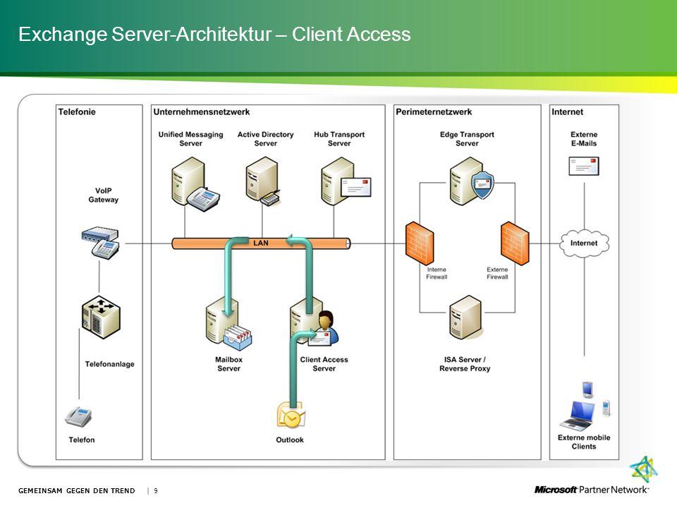 Exchange Server-Architektur – Client Access GEMEINSAM GEGEN DEN TREND | 9