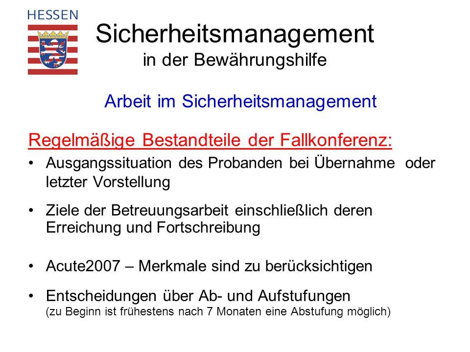 Sicherheitsmanagement in der Bewährungshilfe Regelmäßige Bestandteile der Fallkonferenz: Ausgangssituation des Probanden bei Übernahme oder letzter Vo